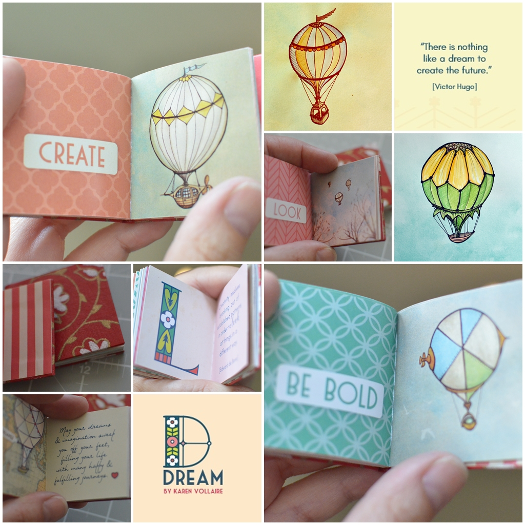 a peek into the miniature book entitled DREAM, A Book of Quotes (and whimsical hot air balloon illustrations)| Kay-Africa Design